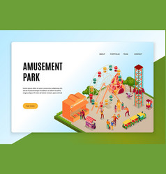 amusement park isometric web banner vector image