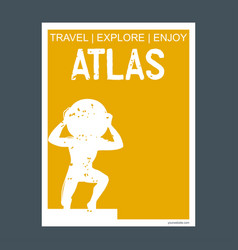 Atlas monument landmark brochure flat style and vector