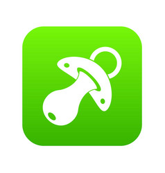 baby pacifier icon digital green vector image