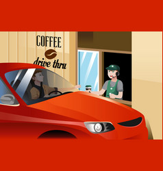 barista serving customer vector image