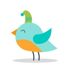 Bird with closed eyes on vector