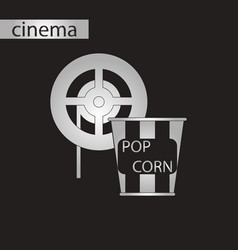 Black and white style icon popcorn cinema vector