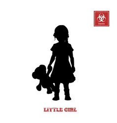 Black silhouette of little girl vector