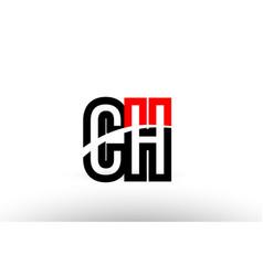 Black white alphabet letter ch c h logo icon vector
