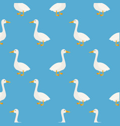 Blue cute geese seamless pattern vector