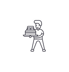 boy with a cake line icon sign vector image