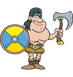 Cartoon barbarian with a shield and an axe vector