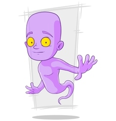 Cartoon cute little violet ghost vector