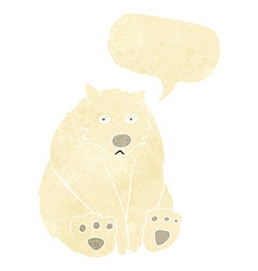 Cartoon unhappy polar bear with speech bubble vector