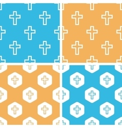 Catholic cross pattern set colored vector