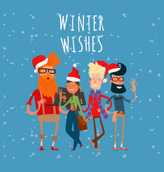 christmas greeting card business people vector image