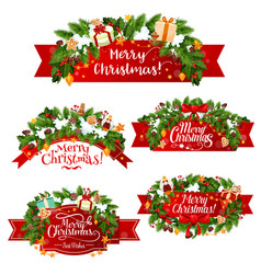 christmas greeting ribbon decoration icons vector image