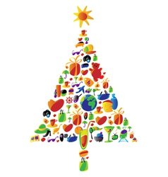 Christmas tree made of icons vector