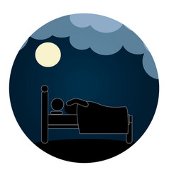 circular pictogram with man in bed in the night vector image