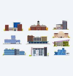 city buildings icons school and university set vector image