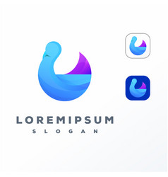 colorful swan logo design ready to use vector image