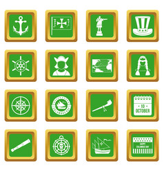 Columbus day icons set green vector