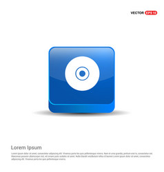 compact disc icon - 3d blue button vector image