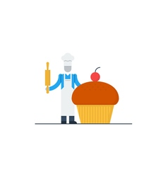 Cook with hat and cake vector