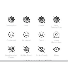 coronavirus icon set for infographics or vector image