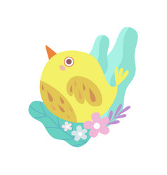 cute little yellow bird symbol of spring vector image