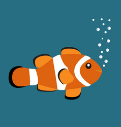 cute orange clown fish on blue background with vector image