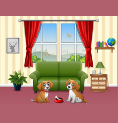 Cute two dogs sitting in the living room vector