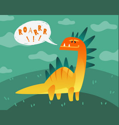 Dinosaur poster cute dino funny monsters kids vector
