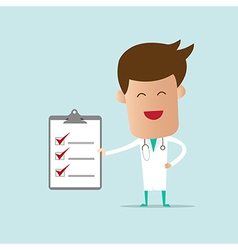 Doctor holding checklist note vector image