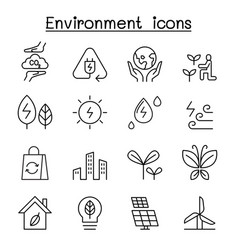 environment ecology icon set in thin line style vector image