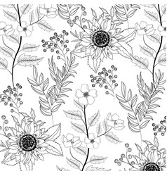 Exotic sunflowers with branches leaves background vector