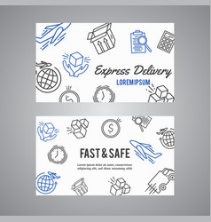 express delivery line icon business card courier vector image