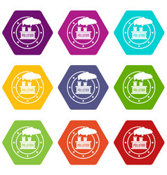 factory icons set 9 vector image