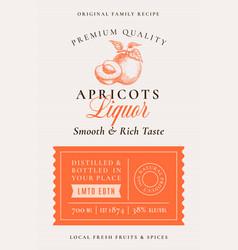 Family recipe apricot liquor acohol label vector