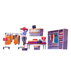 Fashion store cloth shop interior isolated stuff vector