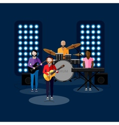 Flat of music band on stage vector