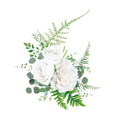 Floral bouquet element white rose flower leaves vector