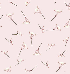 floral vintage seamless pattern white flowers vector image