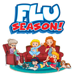 flu season sign with family member vector image