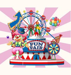 Fun fair sign with happy clown and many rides in vector