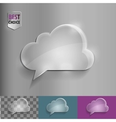 Glass speech bubble cloud icon with soft shadow on vector image