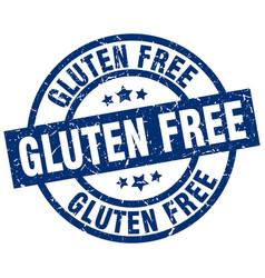gluten free blue round grunge stamp vector image