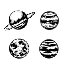 Hand drawn of planets template for card poster vector