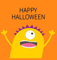 happy halloween card screaming spooky yellow vector image