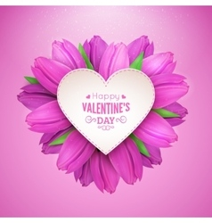 Heart of flowers and text vector image