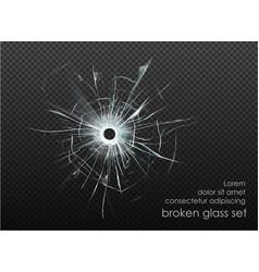 Hole broken glass on transparent background vector