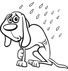 homeless dog cartoon coloring page vector image