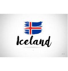 iceland country flag concept with grunge design vector image