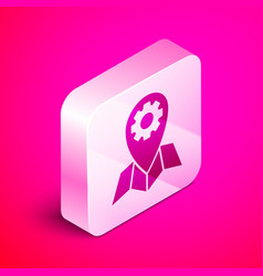 Isometric location job icon isolated on pink vector