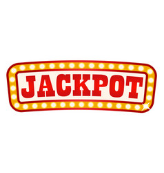 jackpot signboard in glowing frame retro banner vector image